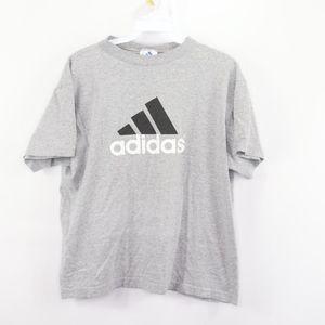 90s Adidas Womens Medium Spell Out T Shirt Gray